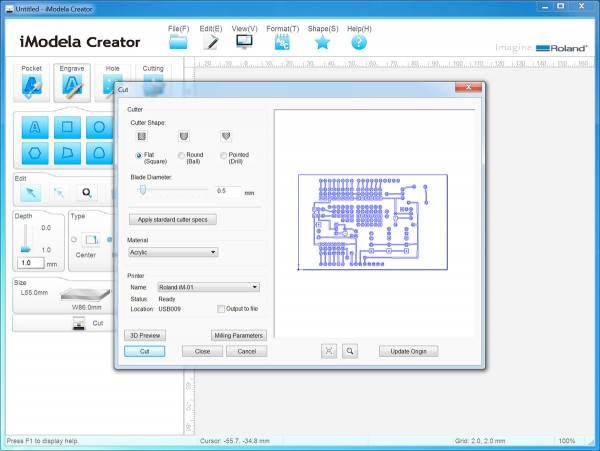 PCB iModela Creator cut parametercut parameters