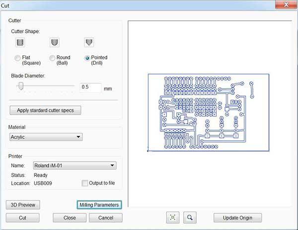 iModela Creator PCB cut parameter