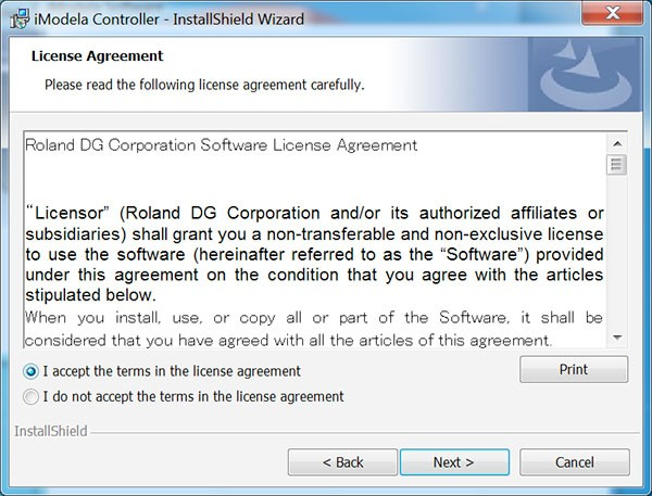 iModela Software install Controller license