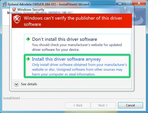 iModela Software install Driver accept