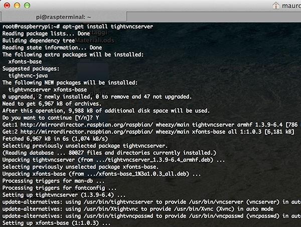 remote raspbian control arduino install vncserver