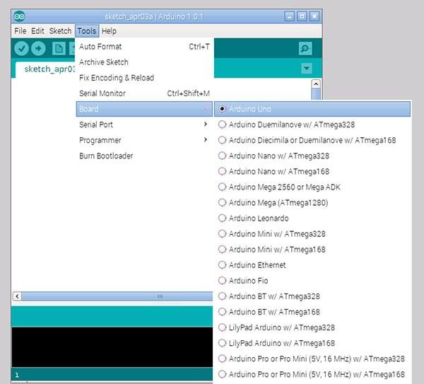 remote raspbian control arduino select type