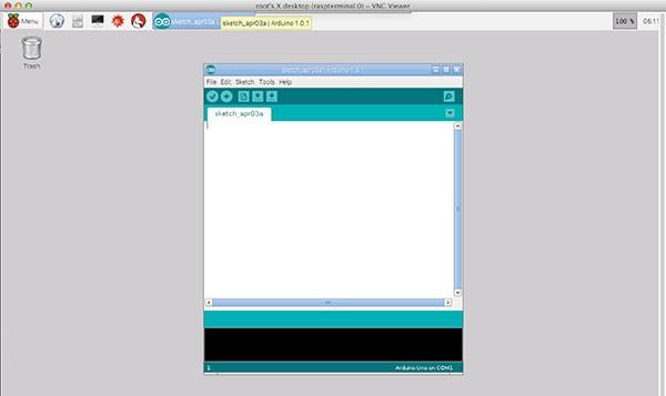 remote raspbian control arduino vncclient open ide