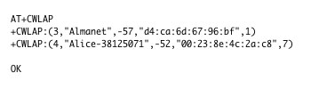 ESP8266 AT+CWLAP scan wifi network