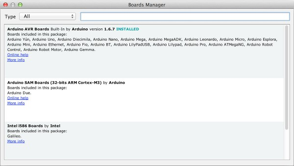arduino IDE 1.6.4 Board Manager