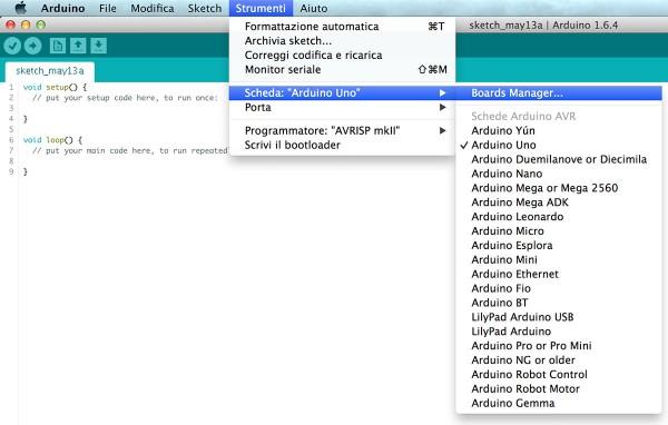 arduino IDE 1.6.4 Board Manager menu