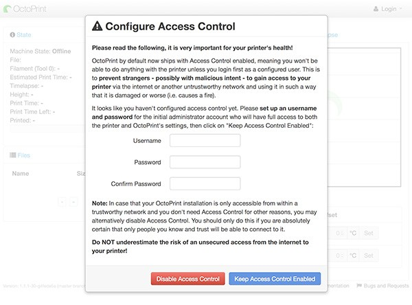 OctoPrint Web Configure Access Control