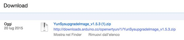 Upgrading OpenWrt on Yun download completed