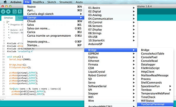 Yun Serial Terminal sketch load