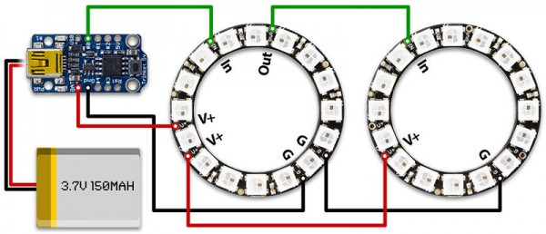 led NeoPixels Ring 16 WS2812 diagram