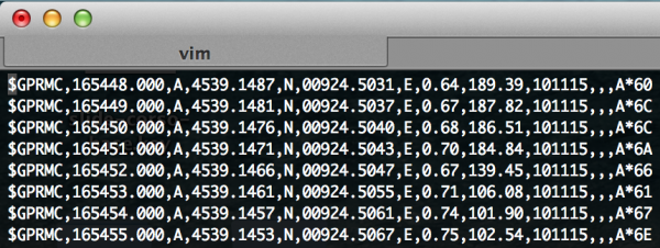 cut screen dati log gps tracker arduino