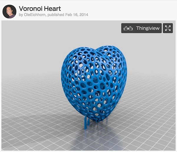 3D Heart San Valentino voronoi_heart_L+V