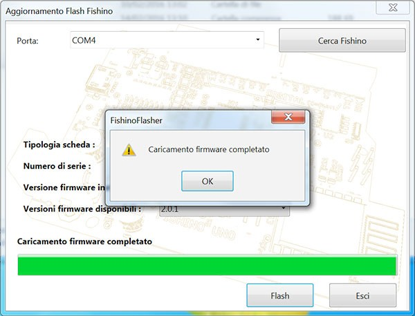 Fishino WiFi Flash Update FishinoFlash complete