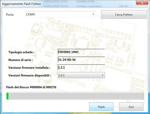 Fishino WiFi Flash Update FishinoFlash start