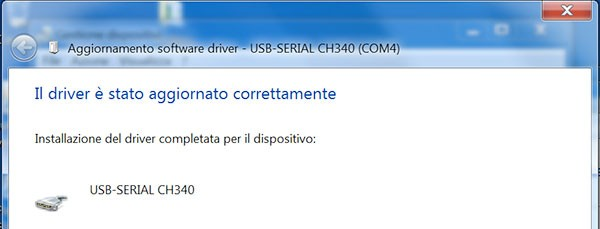 Fishino WiFi Flash Update windows driver complete
