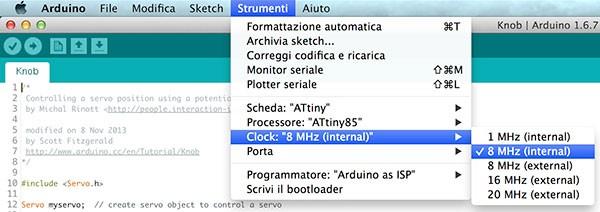 Attiny85 ProgramMode select clock