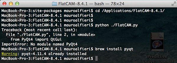 FlatCam PyQt4 installed