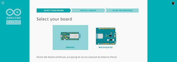 arduino cloud select board