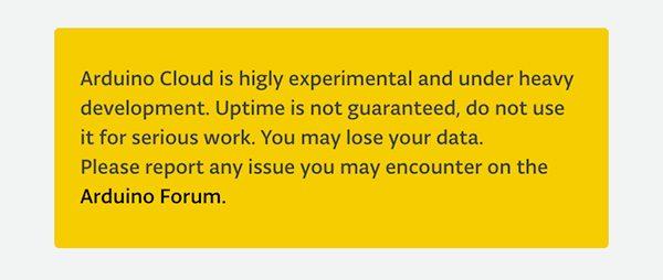 cloud.arduino.cc disclaimer