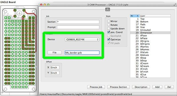 Export EAGLE CAD Gerber Border output