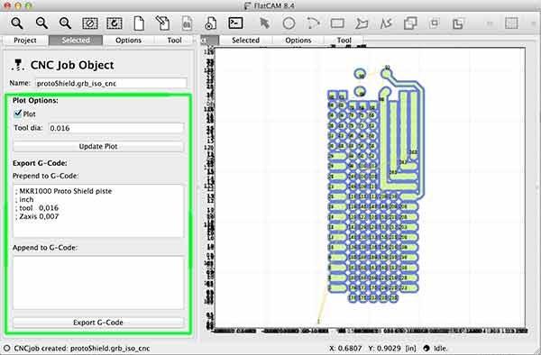 import gerber flatcam protoShield grb iso cnc parameter