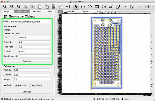 import gerber flatcam protoShield border cutout parameter