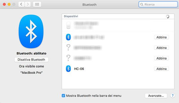 hc 06 scan bluetooth mac os x