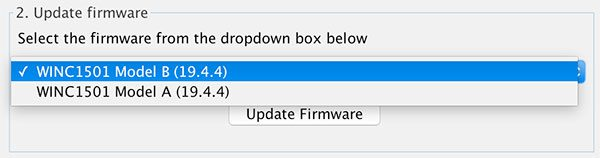 Arduino IDE 1.6.11 Firmware Updater select Model