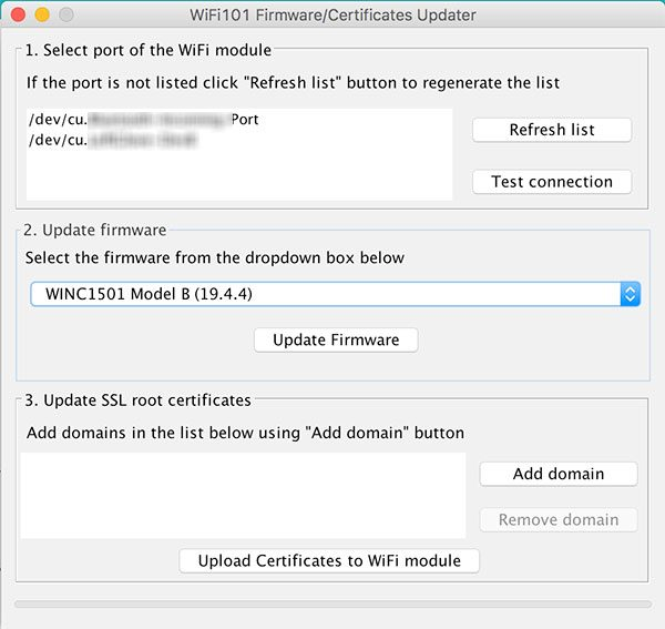 Arduino IDE 1.6.11 Firmware updater Screen