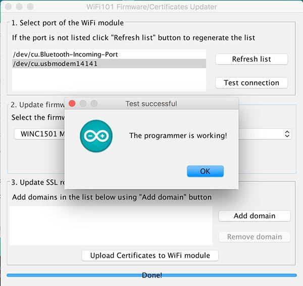 mkr1000 ssl certificates test connection