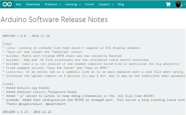 new ide 1.8.0 arduino cc release note