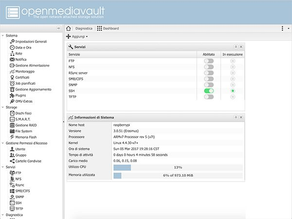 NAS OpenMediaVault Home page first access