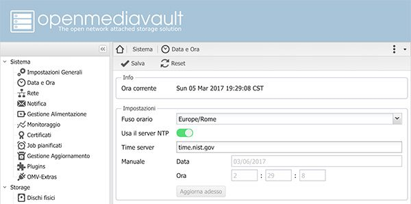 NAS OpenMediaVault date and hour setting