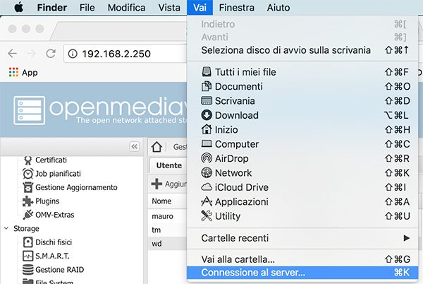 openmediavault user and share test connection