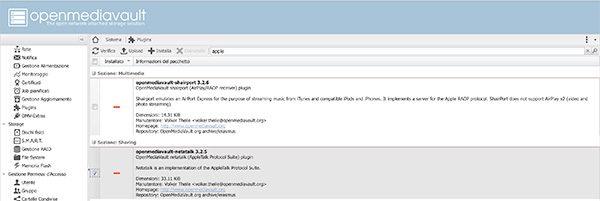 openmediavault Apple Filing plugin Time Machine select