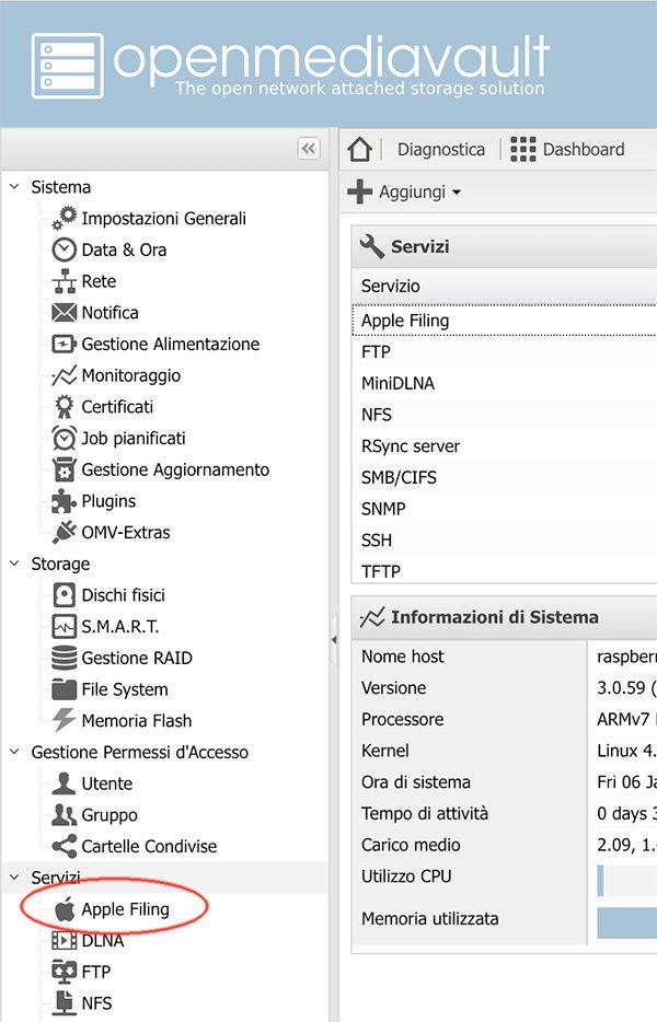 openmediavault Apple Filing plugin Time Machine menu