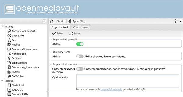 openmediavault Apple Filing plugin Time Machine setting