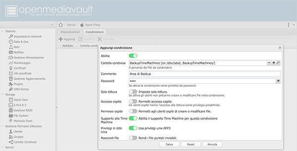 openmediavault Apple Filing plugin Time Machine add share settings