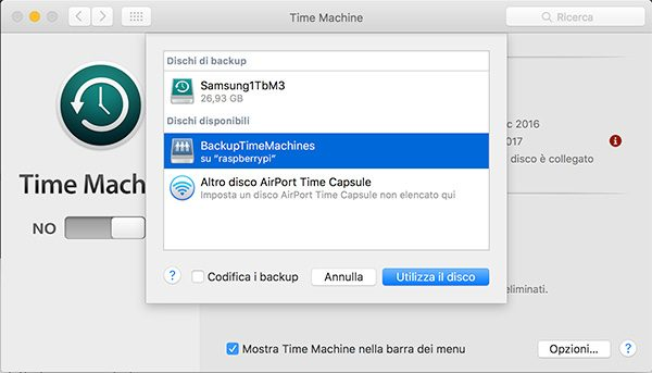 openmediavault Apple Filing plugin Time Machine select disk