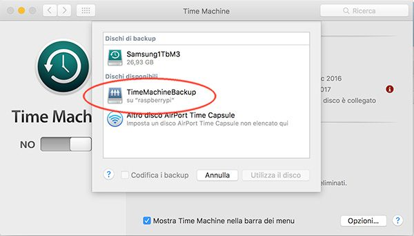 openmediavault Apple Filing plugin Time Machine select disk view disk