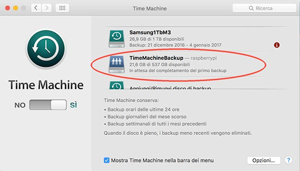 openmediavault Apple Filing plugin Time Machine disk added