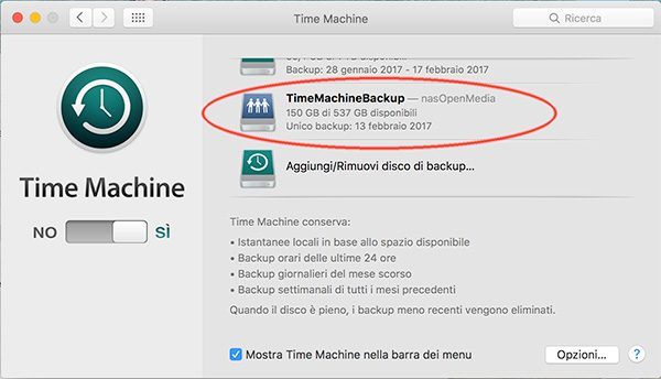 openmediavault Apple Filing plugin Time Machine disk define backup done
