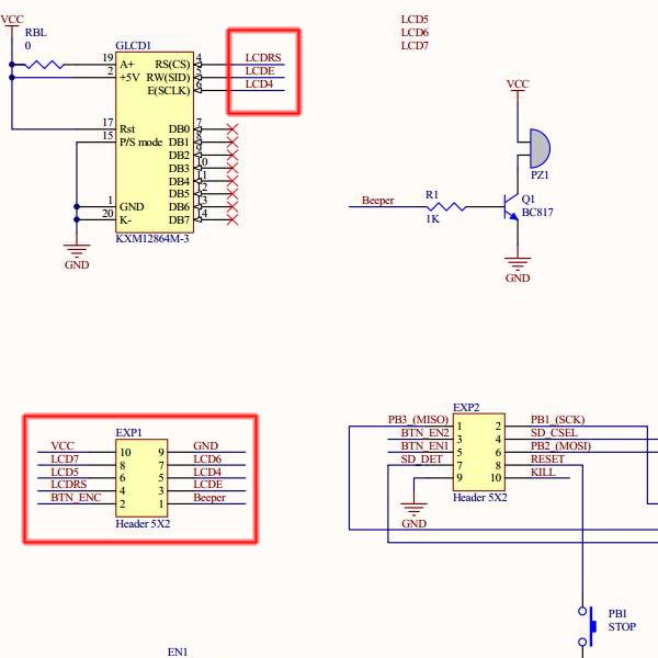 RepRap Full Graphic Controller with Arduino Uno schema detail