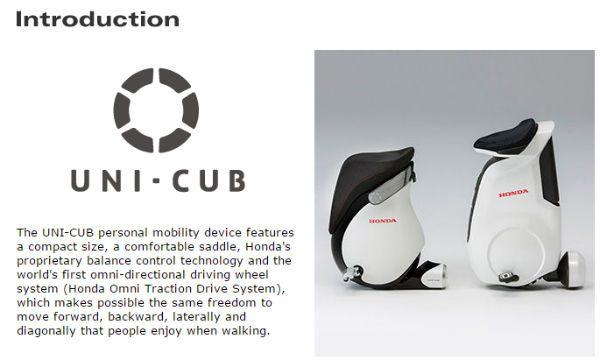 personal mobility robotics honda uni cub