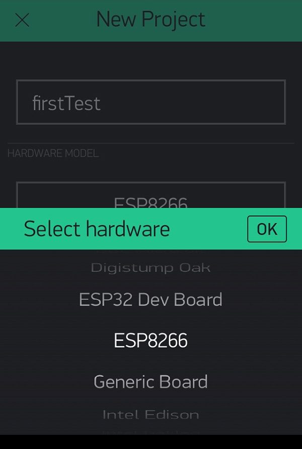 Blynk new project select device esp8266