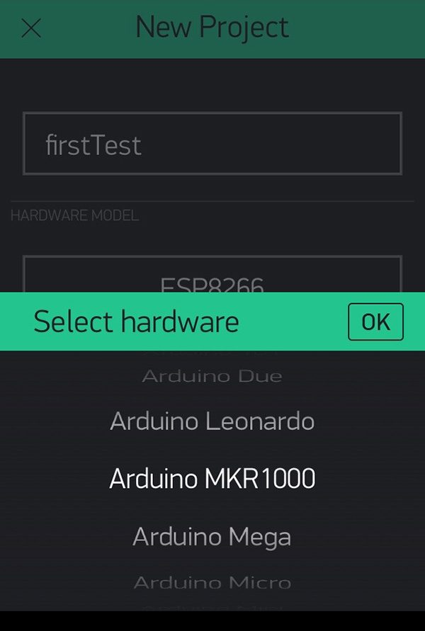 Blynk new project select device mkr1000
