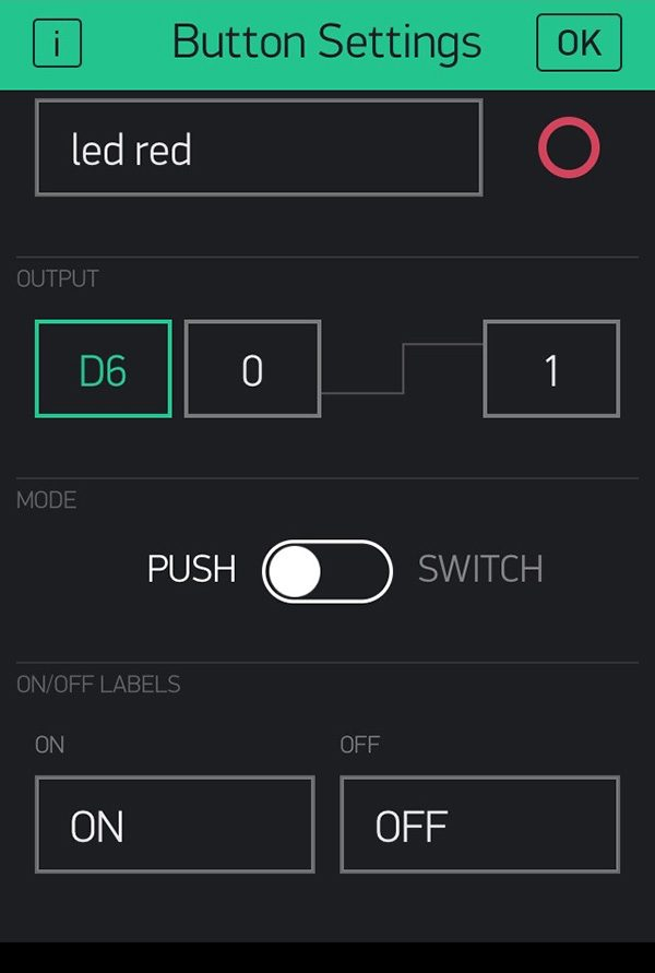 Blynk widget button push switch