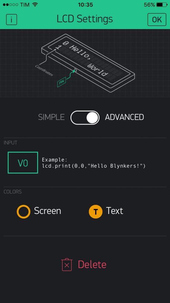 Blynk rele LCD settings