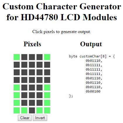 Custom Character Generator light on