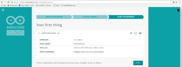 arduino cloud credential app